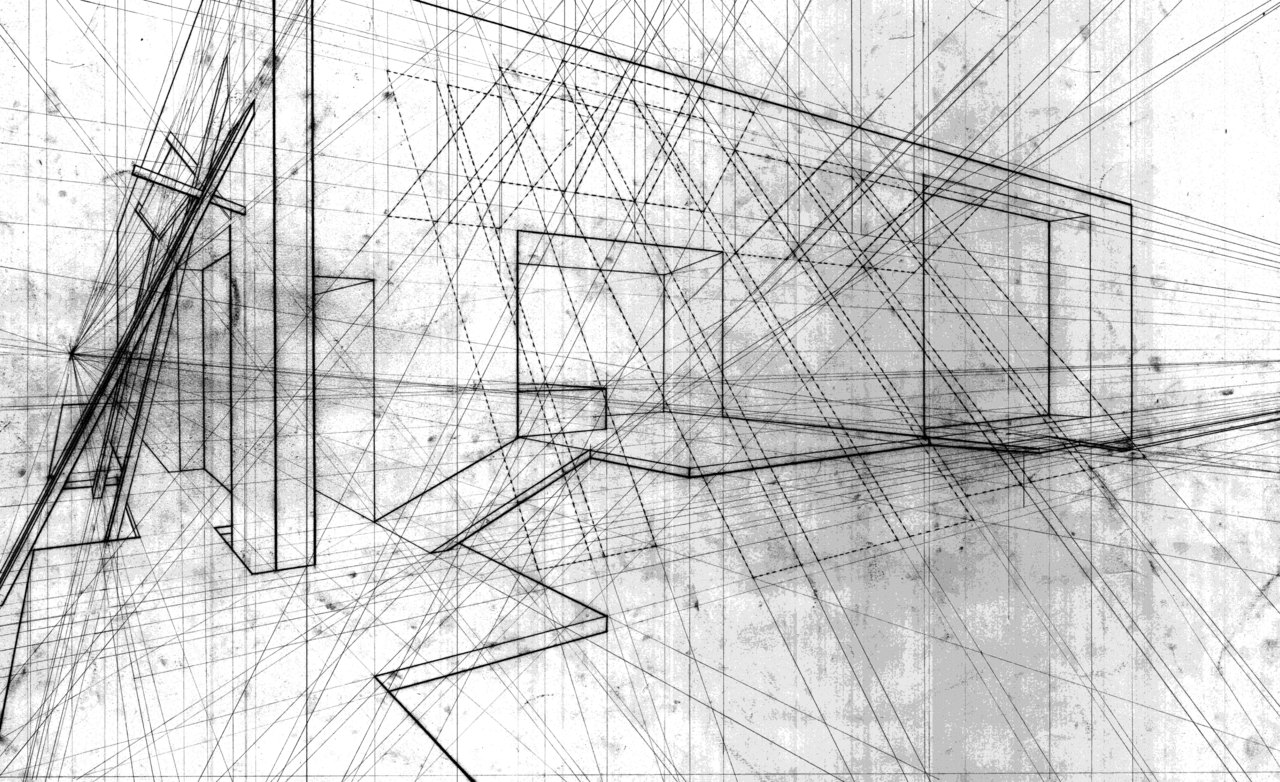 Abstract Line Drawing Of An Architectural Space